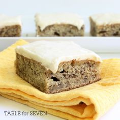 TABLE for SEVEN: Banana Snack Cake with Banana-Cream Cheese Frosting