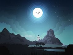 "Good Night!   (no words - ""Dribbble - Night by Arslan Ali"")"