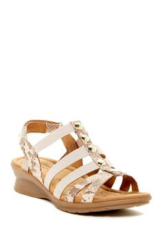 Kalista Sand Snake-Embossed Wedge Sandal - Wide Width Available