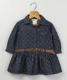 This Beebay Dark Wash Denim Polka Dot Dress - Infant & Toddler by Beebay is perfect! #zulilyfinds