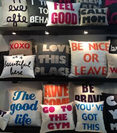 ModDesignGuru - Thinking-Outside-the-Box Design: NY NOW Typography Trend in Decor Soft Pillows, Bed Pillows, Cushions, Souvenir Store, Prayer Room, Box Design, Home Deco, Typography, Tablecloths