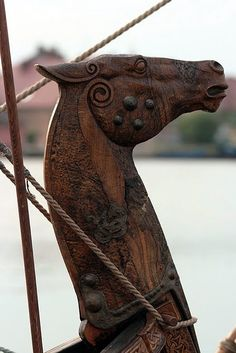 horse head on a Viking ship (presuming a replica, yet cannot find original source to find out)