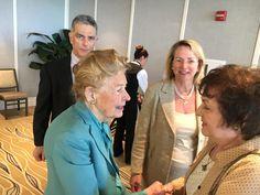 Phyllis Schlafly greets Florida leader, Marguerite Cavanaugh at Naples, Florida event, 3-11-16
