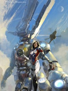 DeviantART - Champagne Havoc by Victor A. Minguez ( concepts / concept / art / characters / character / digital / games / game / sci fi / science fiction / space / moon / skies / sky / heavy armor / armour / mech / brown hair / brunette / female / swords / spaceships / ships / rockets / robots / robot / mechanical / steel / metal plates / illustration / illustrative / splash art / design / human / )