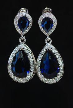 Sapphire blue wedding earrings