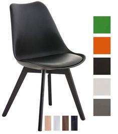 CLP Silla para visitas BORNEO, diseño retro con un soporte de madera, mezcla de materiales en plástico, cuero sintético y madera, altura del asiento 47 cm negro, color del soporte: negro: Amazon.es: Hogar