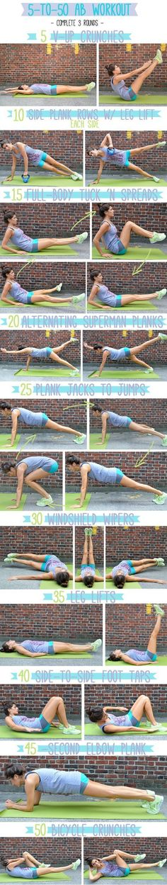 5 to 50 Ab Workout #health | http://bestworkouteverydaylessions.blogspot.com #CoreWorkouts