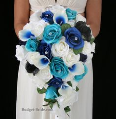 Royal Blue and Turquoise Wedding Flowers in teardrop bouquet, with royal blue picasso lilies. Complete Wedding Flowers Packages starting at $100