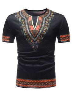 Ericdress African Fashion Dashiki Printed Slim Mens Short Sleeve T Shirt, Mens Casual T Shirts, Mens Tee Shirts, Men Casual, African Shirts For Men, African Clothing For Men, African Fashion Designers, African Print Fashion, Africa Fashion, Dashiki Shirt