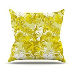KESS InHouse AS1019AOP03 18 x 18-Inch 'Anneline Sophia Marbleized In Gold Yellow' Outdoor Throw Cushion - Multi-Colour
