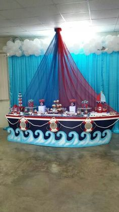 muy genial este Candy Bar sea para fiesta Pirata o Marinera. Richelle, Brigette, Carrie, Christy don't your think this is a great look! Fiesta Baby Shower, Boy Baby Shower Themes, Baby Boy Shower, Boy Birthday Parties, Baby Birthday, Sailor Birthday, Birthday Ideas, Shower Party, Baby Shower Parties