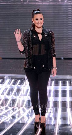 Los Angeles, CA | Demi Lovato shined on the stage of X-Factor last night. She was dressed by TopShop, wore a Premium Velvet Applique Shirt, with a Moto Black Supersoft Skinny Leigh Jeans and the Pamela Sequin Jacket by Goldie with a pair of her favourite Supreme Mega High Platforms.