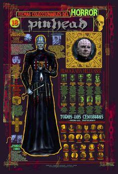 """Ficha infográfica homenaje a el film """"Hellraiser"""". Dibujos y diseños míos"""