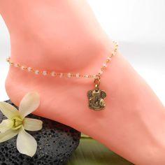 Moonstone Ganesh ANKLET Bracelet - Prayer beads, yoga, breathe, namaste, Buddhist, boho, Ohm, Hamsa, Ganesh, Elephant, Moonstone, anklet by HaoleGirlHaikuZen on Etsy