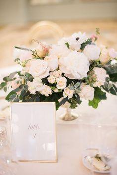 White And Greenery Low Lush Fl Centerpiece Clic Soft Wedding