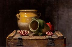 Sarah Lamb - Confit Pots and Pomegranates Still Life 2, Still Life Images, Be Still, Green Paintings, Landscape Paintings, Sarah Lamb, Jacob Collins, Still Photography, Everyday Objects