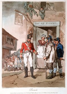 Recruits, 1808 (c)Coloured aquatint by John Hill after John Augustus Atkinson. Published by William Miller, London, 1 January Military Life, Military History, Army Life, British Soldier, British Army, Seven Years' War, Country Fair, War Of 1812, Regency Era