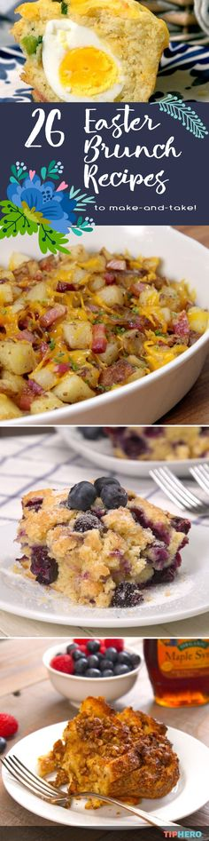 Mmm, Easter Brunch! For most of us this means traveling to visit friends and family with a brunch dish in tow. So we've put together 26 our of favorite make and take recipes for Easter Brunch. From deviled eggs to french toast bakes to fruit tarts to loaded potato casserole, there are plenty of delicious dishes to take on the road!  Click for the full list. Brunch Casserole, Egg Bake Casserole, Breakfast Potato Casserole, Potatoe Casserole Recipes, Loaded Potato, Easter Treats, Easter Desserts, Brunch Dishes, Breakfast Dishes