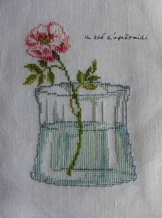 .flower in glass embroidery