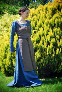 Costume jewelry and (c) Lorliaswood  blue brown Viking apron dress