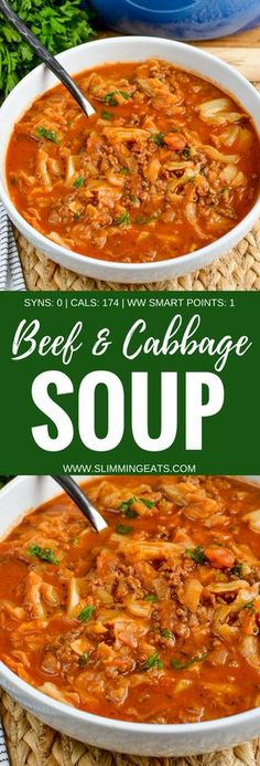 Slimming Eats - Syn Free Beef and Cabbage Soup - gluten free dairy free paleo weight watchers and Slimming World friendly Beef Cabbage Soup, Ground Beef And Cabbage, Soup With Ground Beef, Cabbage Soup Recipes, Healthy Soup Recipes, Beef Recipes, Cooking Recipes, Healthy Meals, Easy Recipes