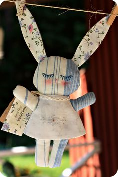 Bunny doll from recycled fabrics