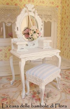 Princess dressing table and stool 1/12 dolls by FloraDollhouse, $40.00