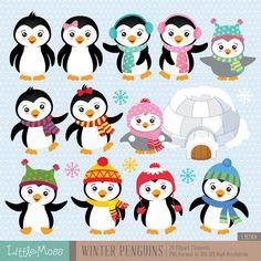 Invierno pingüinos Digital Clipart por LittleMoss en Etsy