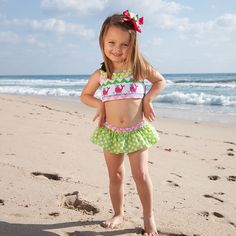 This Teeny Weeny Bikini is TOO CUTE! Shop This Item by Clicking the Photo or All Our Other Favorite #LWD Swimsuits Here: http://www.lollywollydoodle.com/collections/girl-s-swim?utm_source=Pinterest