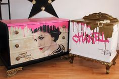 Coco Chanel inspired cabinet makeover by La Shenda Deco, Barcelona Art Furniture, Graffiti Furniture, Funky Painted Furniture, Repurposed Furniture, Furniture Projects, Furniture Makeover, Furniture Design, Painted Dressers, Muebles Shabby Chic