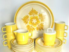 "Reserved for C. - Vintage 1970s Royal China Dinnerware Set -26 Pieces Golden Yellow ""Omegastone"" Stoneware"