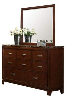 ottowa brown cherry wood glass faux marble top dresser and mirror