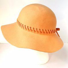Vintage Geo W Bollman Peach Apricot Doeskin 100% Felt Wool Cloche Wide Brim Hat #GeoWBollmanCo #Cloche