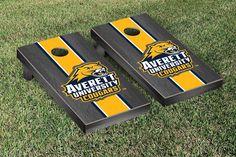 Cornhole Set - Averett University Cougars Onyx Stained Stripe Version