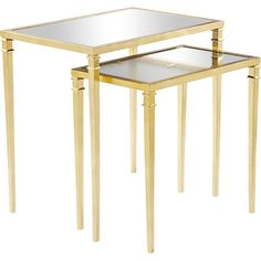 House of Hampton Kenzie 2 Piece Mirrored Nesting Table Finish: Gold Gold Leaf Furniture, Mirrored Furniture, Furniture Decor, Contemporary End Tables, Modern Dining Table, Mirrored Accent Table, Table Mirror, Accent Tables, Fireplace Remodel