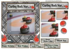Curling Rock Star Card Topper Decoupage Pyramids on Craftsuprint - Add To Basket!