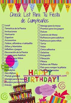Mami en Problemas: Check List Tu Para Fiesta Infantil