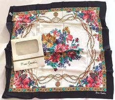 Vintage Pierre Cardin Womens Silk Scarf New in package NIP FLORAL Black Trim Wht #PierreCardin #Scarf #Any