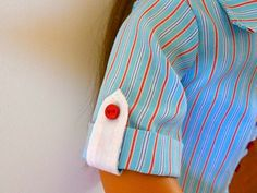 Val Spiers Sews Doll Clothes: Roll up Sleeve with a Tab. Tutorial for my shirt pattern.