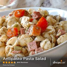 "Antipasto Pasta Salad | ""Wow, this was excellent! The asiago cheese was perfect in this recipe. I added Artichokes and skipped the peppers since I'm not a fan of peppers. Thank you for sharing this recipe!"" -RugbyNLucky"