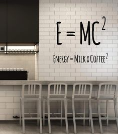 Vinyl Wall Decal Coffee Lover Physical Formula Funny Cafe Art Decor Stickers Mural - Home Page Small Coffee Shop, Coffee Shop Design, Cafe Design, Interior Design Coffee Shop, Kitchen Wall Decals, Vinyl Wall Decals, Vinyl Decor, Wall Stickers, Office Wall Decals