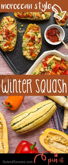 Moroccan Spices doll up this winter squash with Vegetable Almond Pilaf - flavors burst! | #recipe at OatandSesame.com