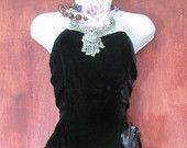 Velluto nero abito d'epoca peplum cocktail sera festa vacanza piccolo dall'opulenza vintage su Etsy
