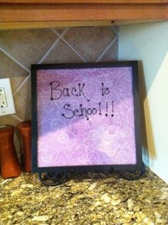 """DIY """"white board"""" made with 12x12 frame and scrapbook paper - great idea!"""