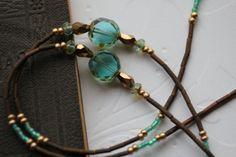 Aqua Glass Eyeglass Chain, Eyeglass Necklace, Lanyard, Eyeglass Lanyard, Artisan Eyelgass Chain, Turquoise Eyeglass Necklace