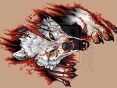 ripped wolf tattoo