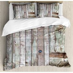 Rustic King Size Duvet Cover Set, Old Rustic Barn Door Cottage Country Cabin Theme Rural Mystic Entrance of Home, Decorative 3 Piece Bedding Set with 2 Pillow Shams, Warm Taupe Cocoa, by Ambesonne #rusticcabins