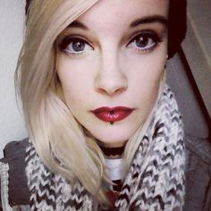 Yay for new make up:3 #selfie #selca #pierced #redlipstick #lipstick #blonde #scenegirl #scenekid #scene #alternative #alternativegirl #emo #emogirl #emokid #pastelgoth #pastelgothgirl #new #newmakeup #yay