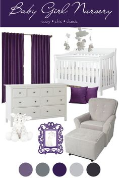 Baby girl purple nursery inspiration board