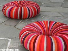 """#Polyurethane """"Drops"""" Pouf Made of Recycled Upholstery by Camilla Halvorsen"""